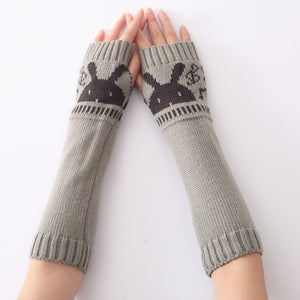 Fingerless Knitted Arm Warmers with Bunny Print - Grey