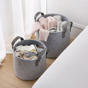 Felt Storage Basket with Handles for Laundry and Toys