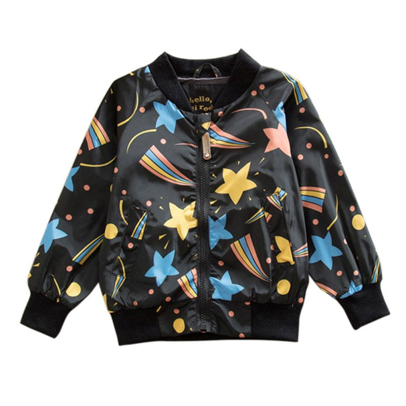 Black Bomber Style Jacket with Comet Print