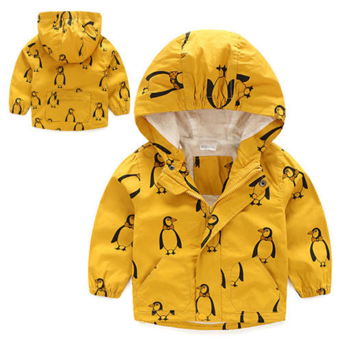 Hooded Waterproof Windbreaker - Yellow Penguin Print