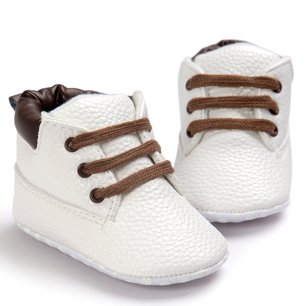 Soft Sole White Leather Baby Boots with Brown Trim