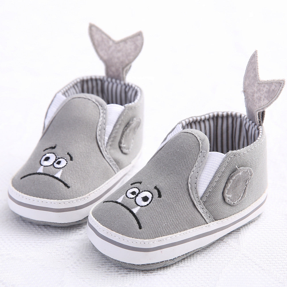 Soft Sole Baby Shoes with Shark Design