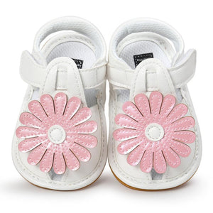 White Leather Girl's Sandal - Pink Rose