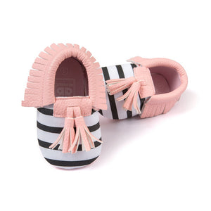 Gorgeous Soft Baby Moccasins - Stripes and Pink Trim