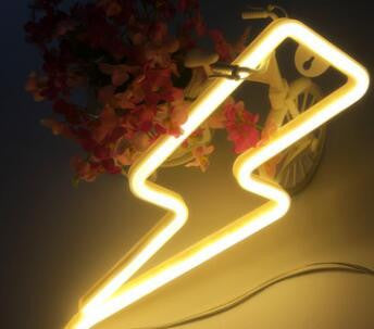 Yellow Neon LED Lightning bolt for children's room decor