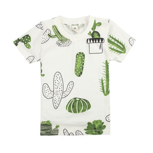 Casual Cotton Short Sleeve Tee - Cool Cactus Print