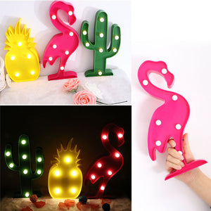 3D LED Cactus, Flamingo and Pineapple Bookshelf Lamps