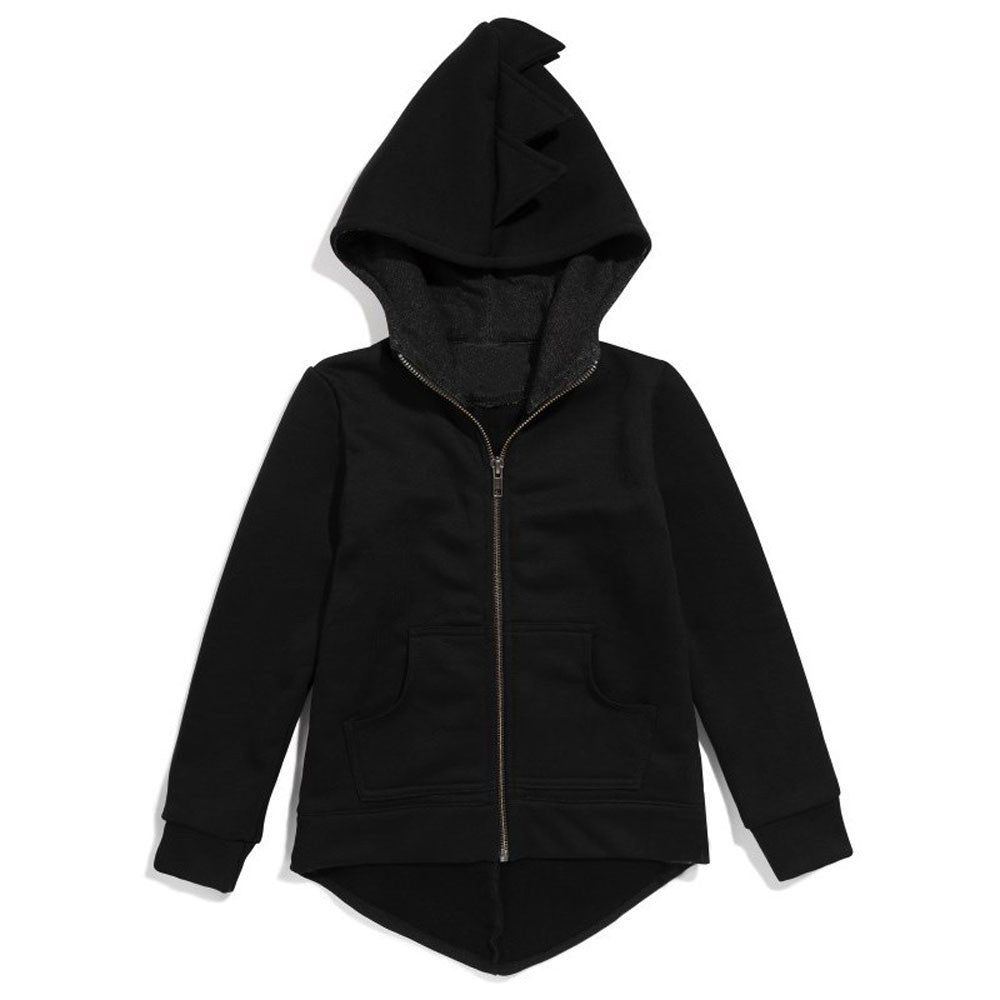 Roarsome Kid's Hoodie with Front Zip - Jet Black