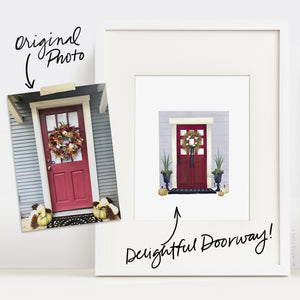 Custom Delightful Doorway Illustration