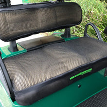 Load image into Gallery viewer, Cool Dry Covers Seat Cover Set for EZGo TXT and RXV golf cart. Shown installed on cart.