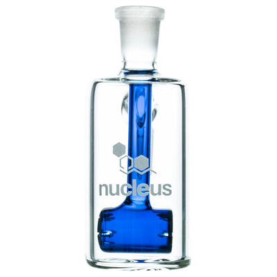 Clear Glass Ashcatcher with Blue Barrel Perc