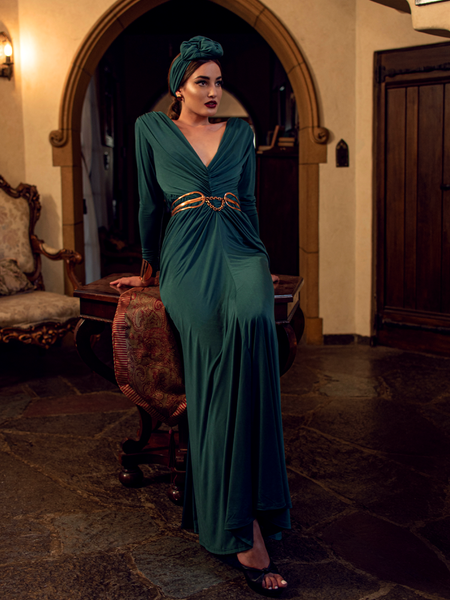 Art Deco Rusched Gown in Green