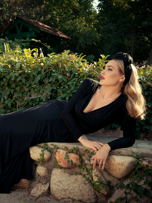 PRE-ORDER - Art Deco Rusched Gown in Black