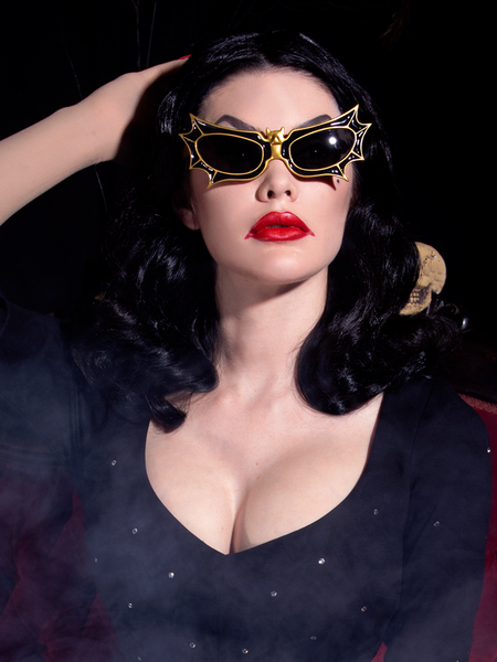 PRE-ORDER - Bat Glasses - Vampira® by La Femme en Noir - Gold/Black