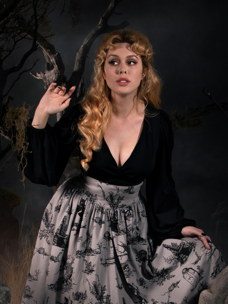 Linda in the Bishop Blouse in Black and grey Sleepy Hollow skirt.