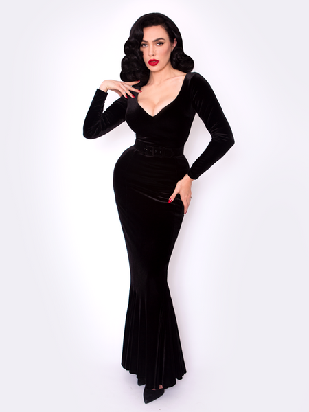 Black Marilyn Gown in Black Velvet