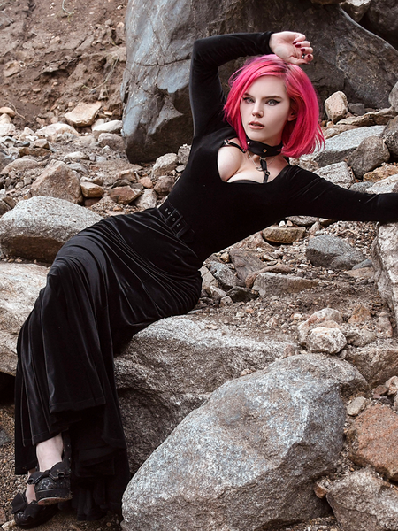 FINAL SALE - Black Marilyn Gown in Black Velvet