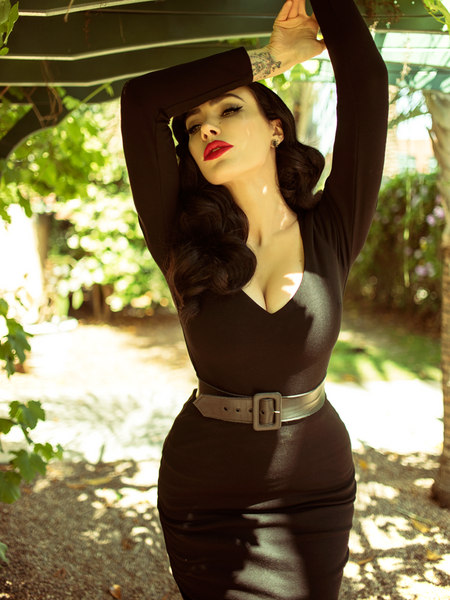 FINAL SALE - Black Marilyn Gown in Oxblood Velvet