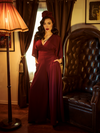 Black Widow Palazzo Pants in Oxblood
