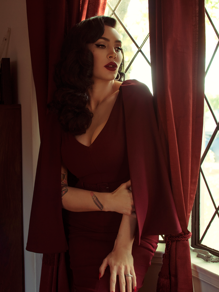 Baudelaire Wiggle Dress in Oxblood