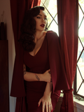 Drusilla Cape Dress in Oxblood Crepe