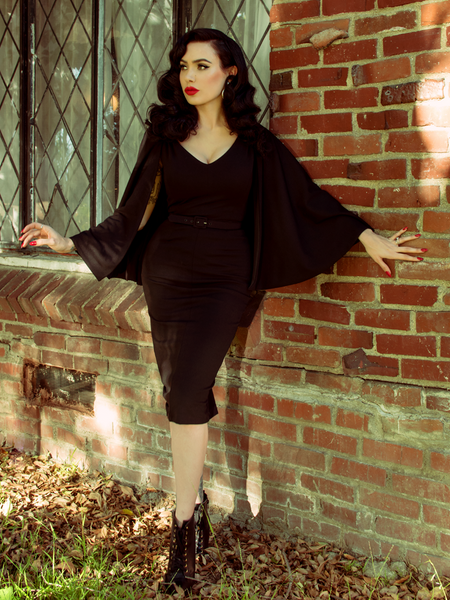Drusilla Cape Dress in Black Crepe