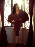 FINAL SALE - Drusilla Cape Dress in Oxblood