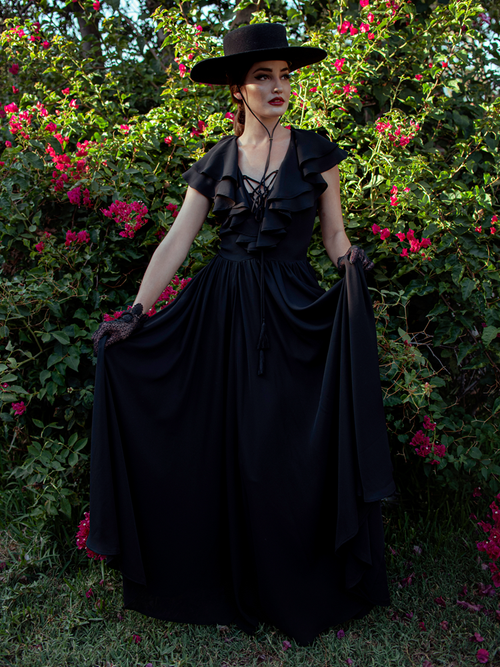Aliza wearing the Mythical Goddess Gown in Black - a gothic style dress from La Femme en Noir.