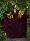 Mythical Goddess Gown in Oxblood Gorgon Print by Natalie Hall