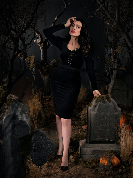 PRE ORDER - Sleepy Hollow Gothic Tales Velour Wiggle Dress in Black