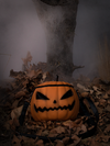 The Sleepy Hollow Pumpkin Bag photographed in front of a fog covered tree sitting on a bed of old leaves.