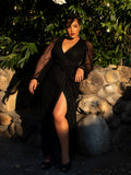 The Black Widow Wrap Gown in Black Lace from gothic vintage clothing company La Femme en Noir.