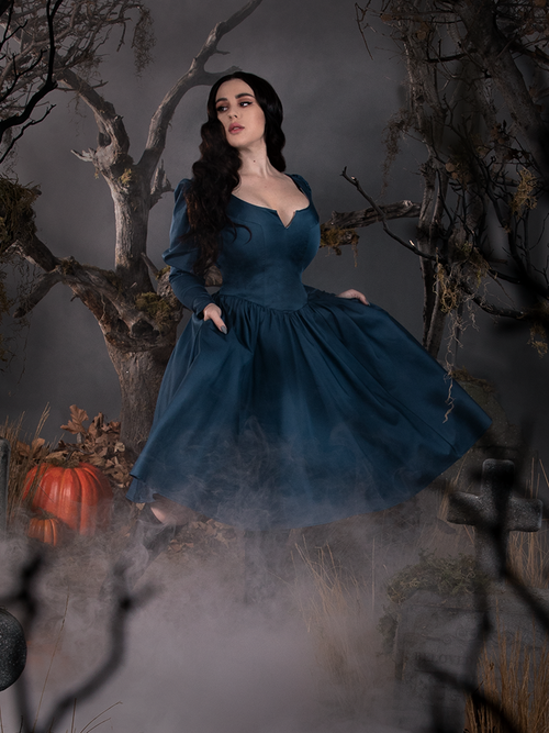 PRE-ORDER - Sleepy Hollow The Lady Crane Dress in Vintage Blue