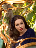 Micheline Pitt modeling the Art Deco Head Scarf in Navy Ponte.