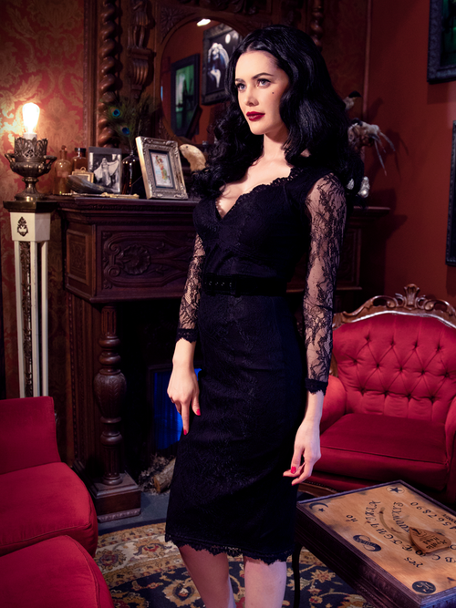 A stylized photo of Heather, standing in a gothic style room, modeling the La Dentelle dress in black.
