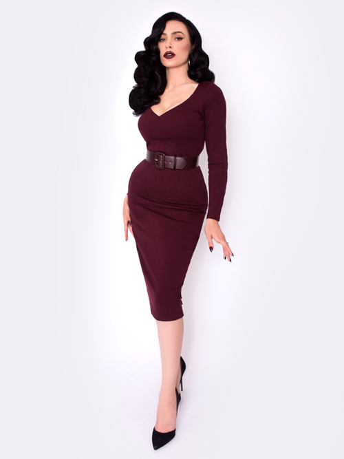 Black Marilyn Dress in Oxblood