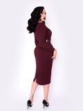 FINAL SALE - Black Marilyn Wiggle Dress in Oxblood