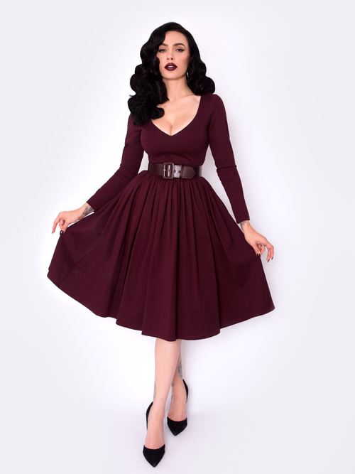 FINAL SALE - Black Marilyn Swing Dress in Oxblood