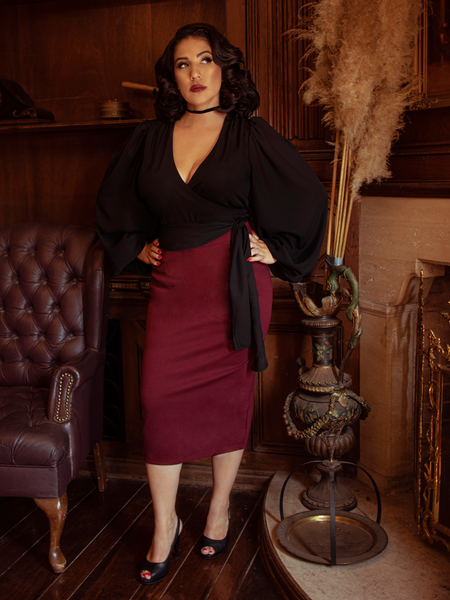 Vamp Pencil Skirt in Oxblood