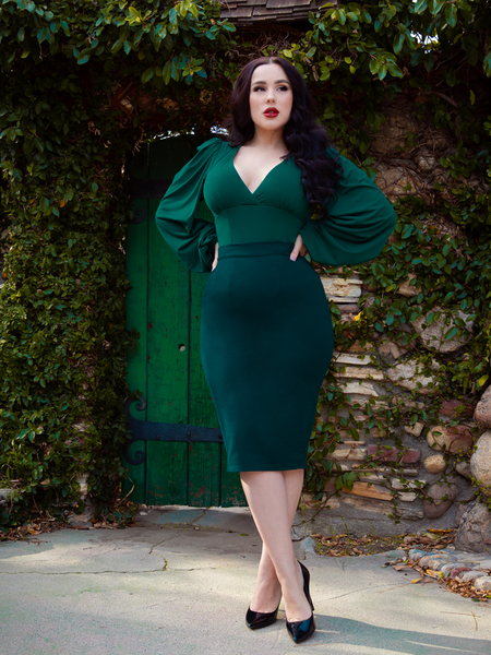 PRE-ORDER - Vamp Pencil Skirt in Dark Green with Lining