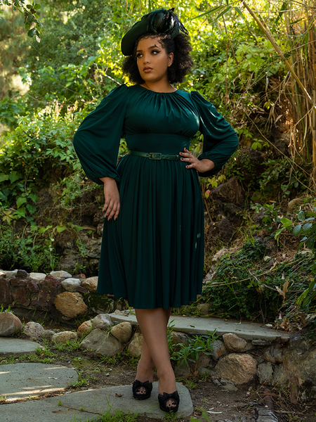 Ashleeta modeling the Salem Dress in Hunter Green from La Femme en Noir.