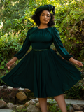 Ashleeta shows off the haunting Salem Dress in Hunter Green from La Femme en Noir.