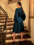 PRE-ORDER FOR END JULY - Serpentine Wrap Dress in Green Snake Print by Natalie Hall