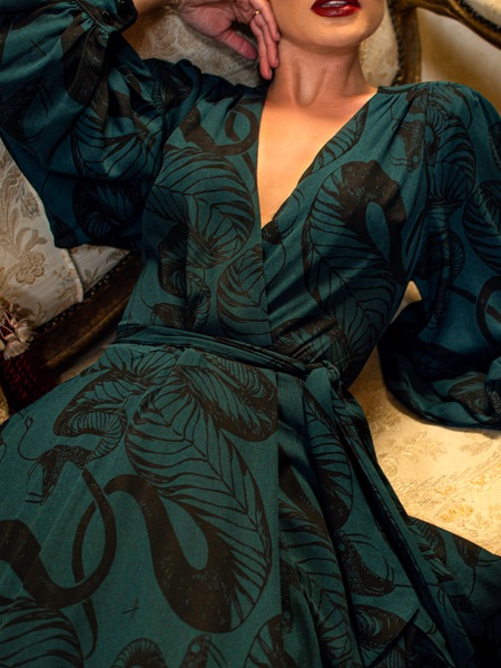 Serpentine Wrap Dress in Green Snake Print by Natalie Hall