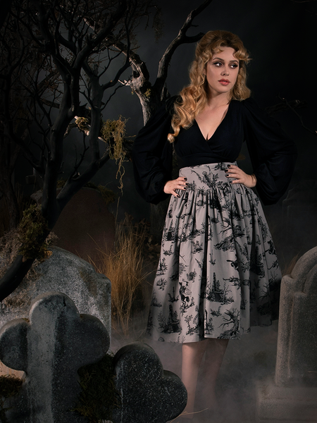 Full length goth skirt being worn by Linda in a spooky, foggy graveyard.