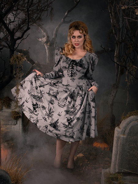 PRE ORDER - Sleepy Hollow Gothic Tales Toile Swing Dress in Grey