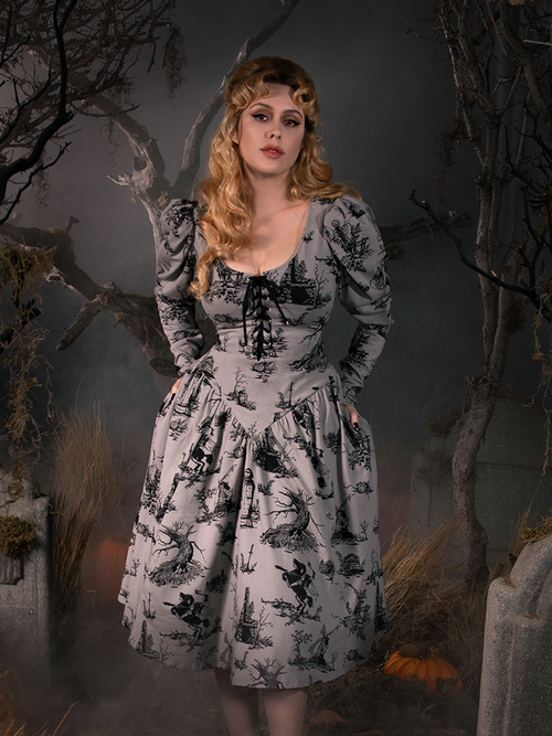 Sleepy Hollow Gothic Tales Toile Swing Dress in Grey