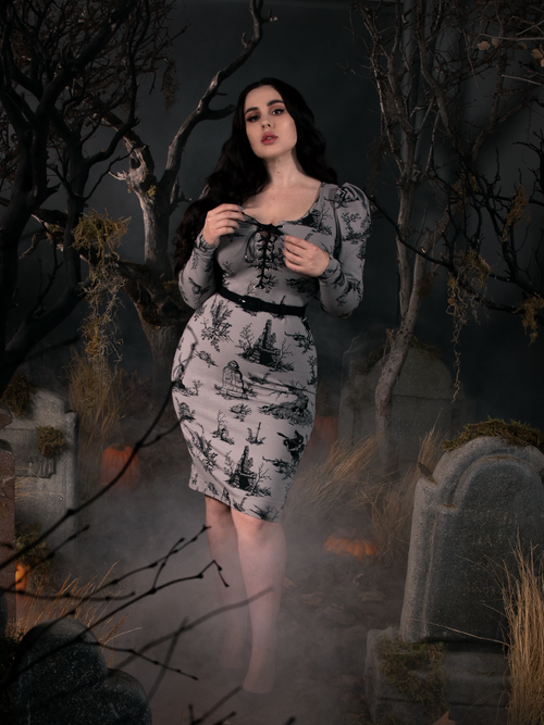 PRE ORDER - Sleepy Hollow Gothic Tales Toile Wiggle Dress in Grey