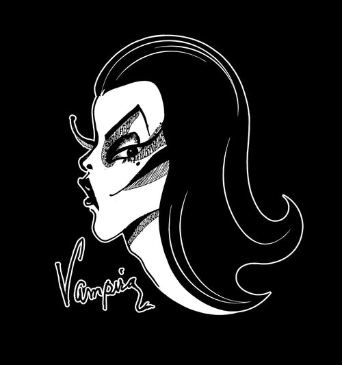 A closeup of the artwork for the men's Vampira black tee fro La Femme En Noir.