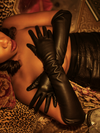 Black Faux Leather Vegan Opera Gloves